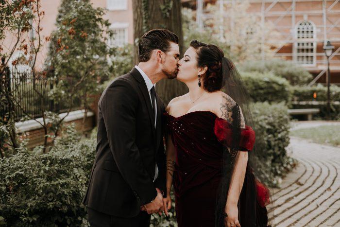 red velvet wedding dress | nontraditional couple | eclectic wedding | moody philadelphia wedding