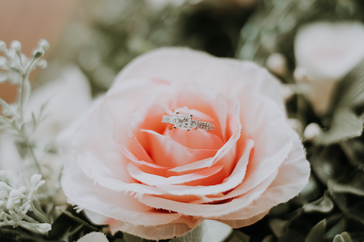 diamond ring in wedding bouquet | freehearted film co | tampa wedding photographer | tampa wedding photography