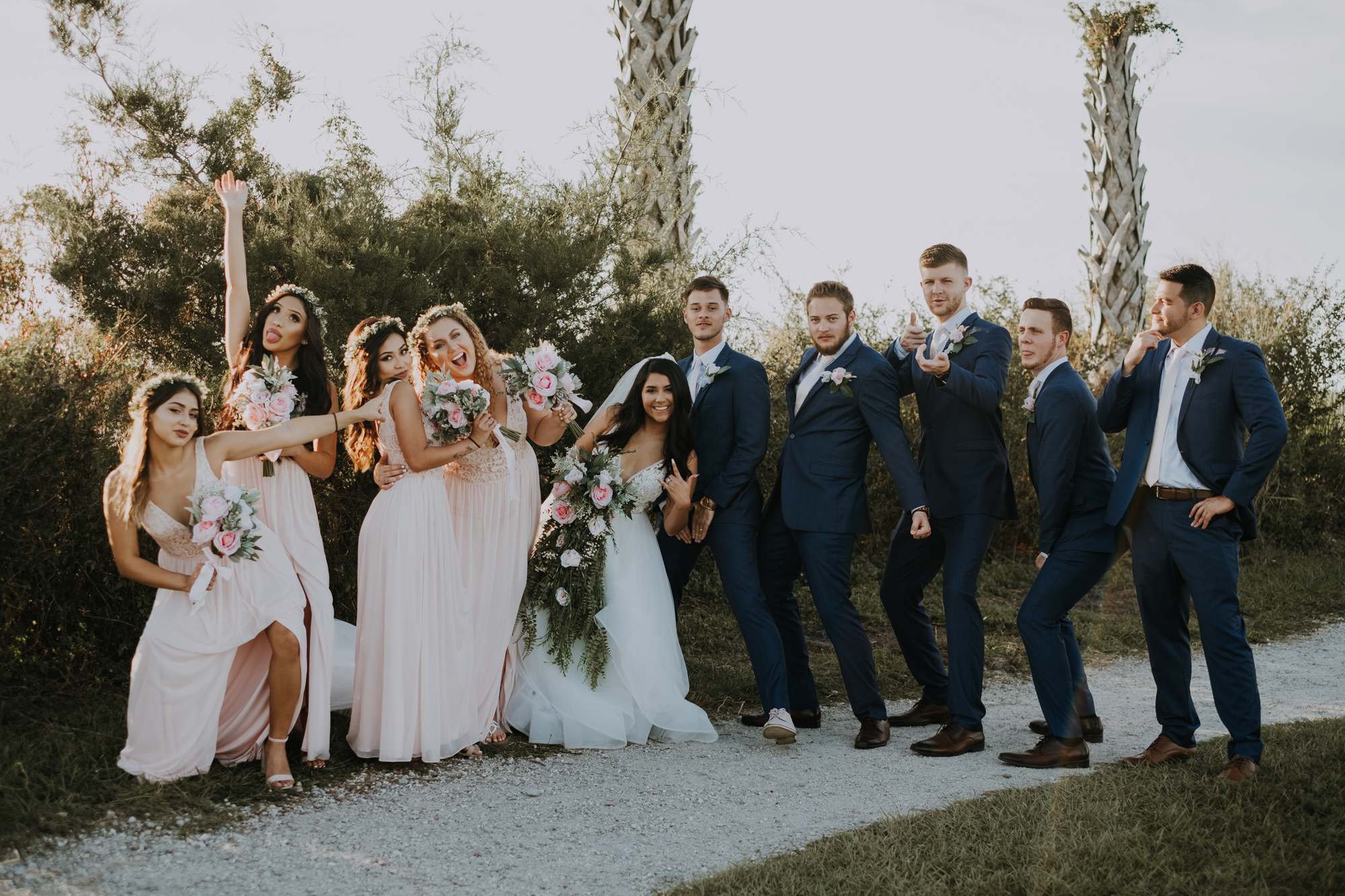 boho bridal party | bridal party portraits | bridesmaid portraits | groomsmen portraits | outdoor Florida wedding | sarasota wedding