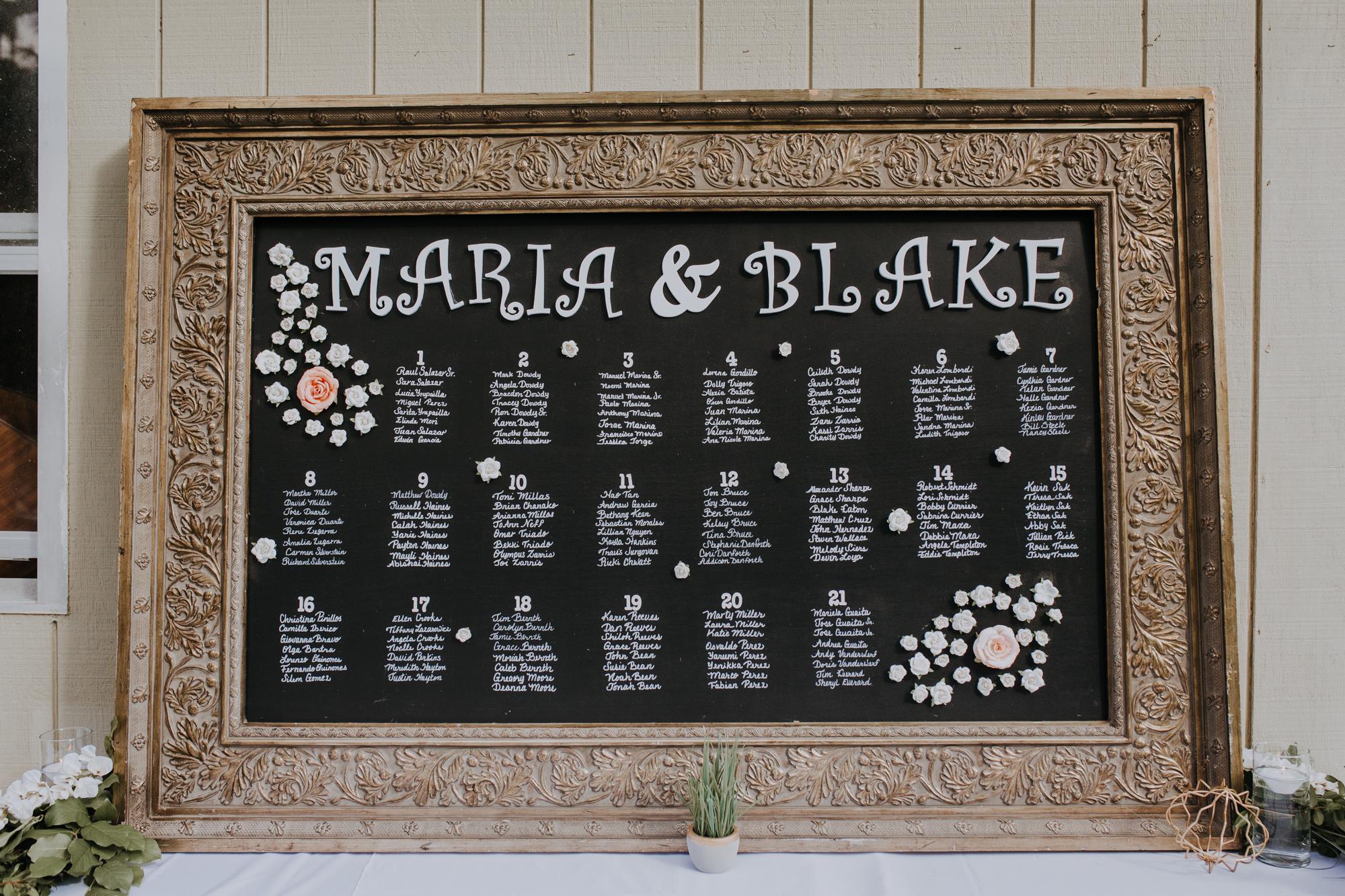 boho seating chart | bohemian seating chart | chalkboard seating chart | boho reception | sarasota wedding photographer