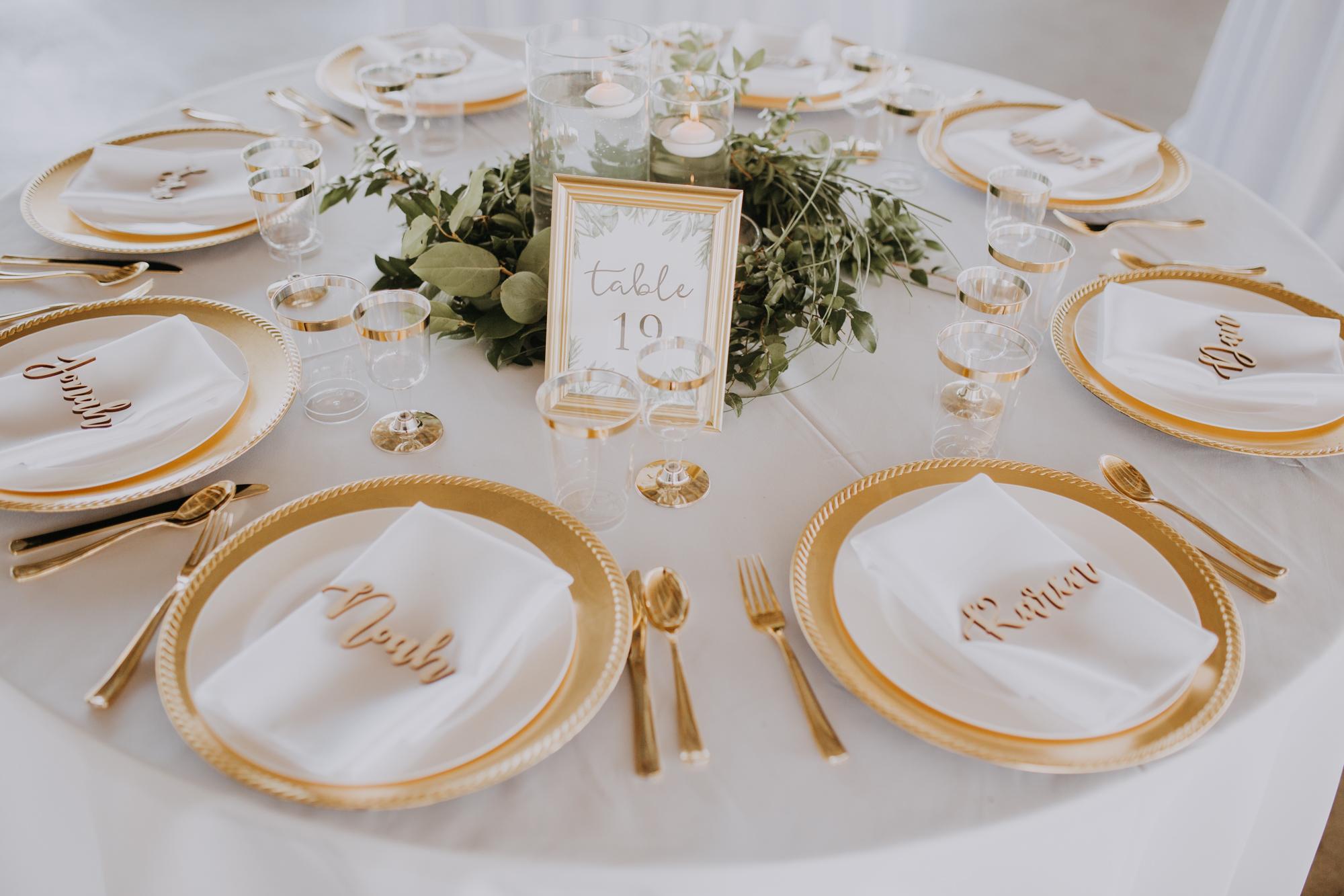 elegant boho place settings | elegant white and gold table setting | elegant white and green wedding table decor | boho reception | outdoor Florida wedding