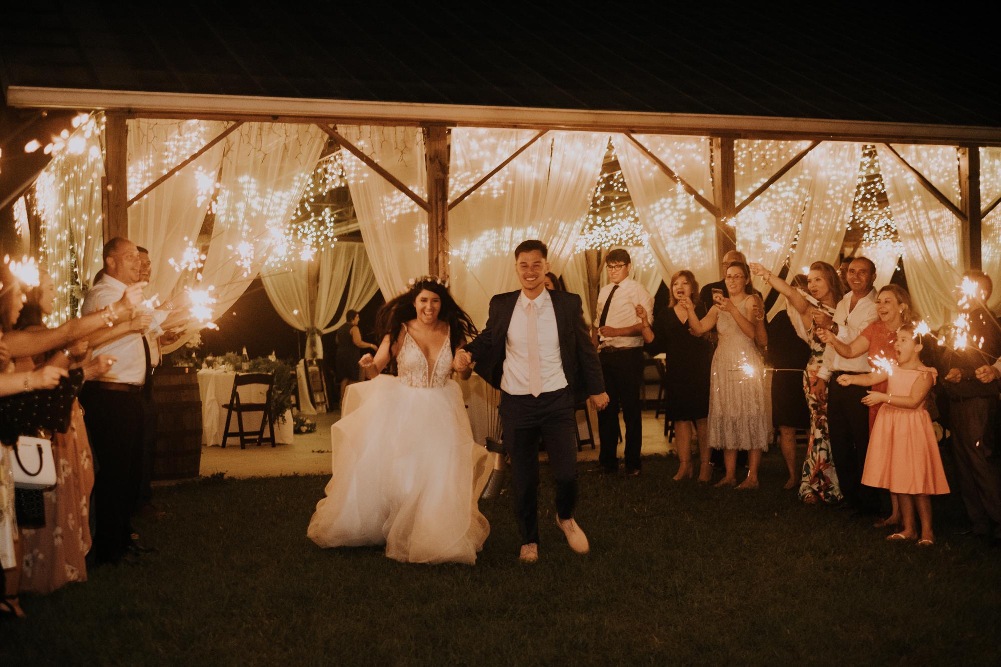 sparkler exit | wedding sparkler exit | romantic sparkler exit | outdoor Florida wedding | sarasota wedding