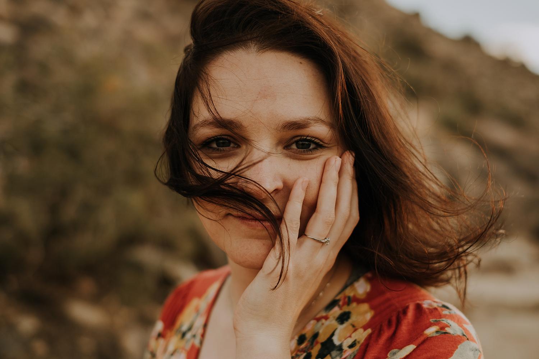 girl hair blowing, portland engagement photographer